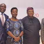 Left to Right Wale Ajayi, Partner, KPMG; Adenike Adeyemi, Executive Director, FATE Foundation; Laoye Jaiyeola, CEO, Nigeria Economic Summit Group; and Max Menkiti, CEO, Millennium Apartments and President, FATE Alumni ExCo at the 2020 FATE Business Outlook.